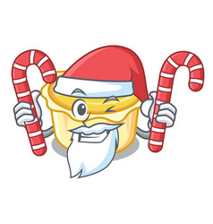 Santa with candy egg tart mascot cartoon vector