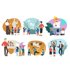school children on excursion in museums vector image