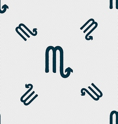 Scorpio sign Seamless pattern with geometric vector image