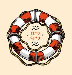 Sea lifebuoy nautical or marine ring buoy ocean vector