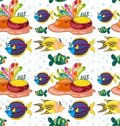 Seamless background with fish swimming underwater vector