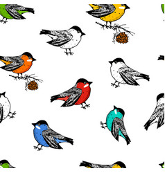 seamless pattern birds and christmas animals new vector image