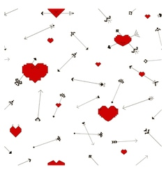 Seamless pattern with stylized hearts and arrows vector image