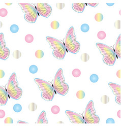 Seamless tileable pattern with butterflies in past vector