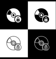 Set cd or dvd disk with closed padlock icons vector