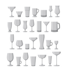 Set drink glasses for wine martini champagne vector