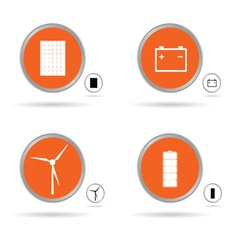 set energy icon in orange circle vector image