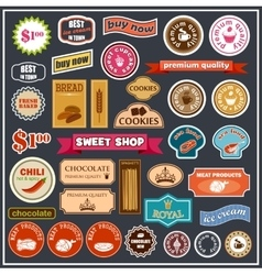 Set of labels and stickers for food vector image