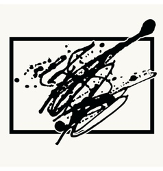 Splatter Black Ink Background in frame vector