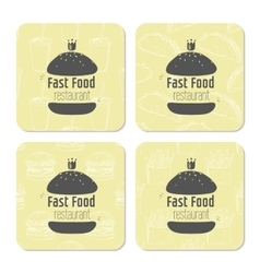 Square table coasters template with hand drawn vector image