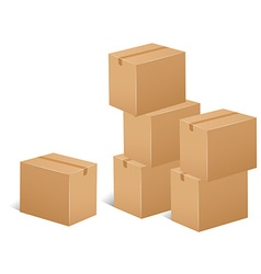 Stack cardboard boxes vector