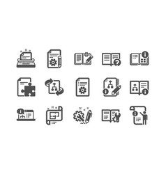 Technical documentation icons instruction plan vector