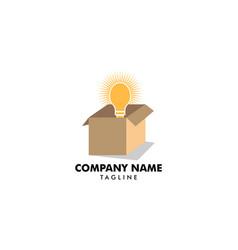 think outside box with bulb logo light bulb vector image