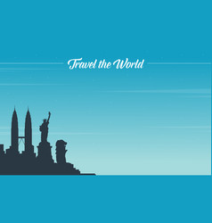 Travel on the world background style vector