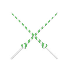 Two crossed lances in green and white design vector