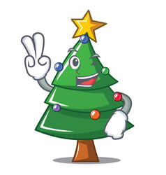 Two finger christmas tree character cartoon vector