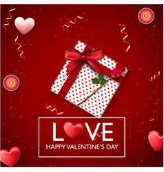 valentines day background with red heart candles vector image