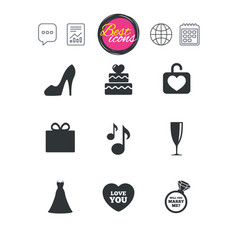 wedding engagement icons cake gift box vector image