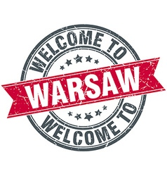 Welcome to warsaw red round vintage stamp vector