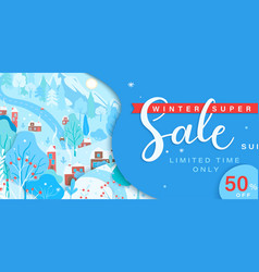 winter sale card with fall wintertime landscape vector image