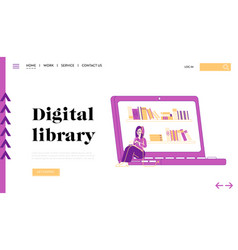 woman get education in online library landing page vector image