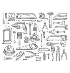 Work tools sketch icons for house repair vector