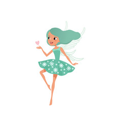 cartoon fairy character beautiful girl with long vector image vector image