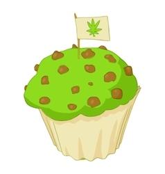 Muffin with marijuana icon cartoon style vector image vector image