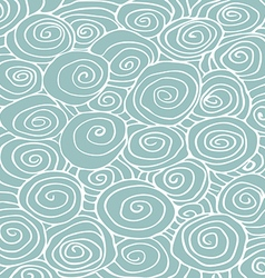 Waves hand-drawn pattern curled background vector image vector image