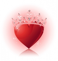 crystal heart with crown vector image vector image