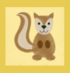 Flat shading style icon cartoon squirrel vector