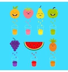 Fresh juice and glasses Apple strawberry pear vector image