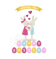 Happy Easter bunnies vector image vector image