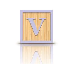 Letter v wooden alphabet block vector