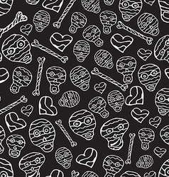 seamless pattern with skulls bones and hearts on vector image