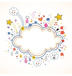 star bursts cartoon cloud shape banner frame vector image vector image