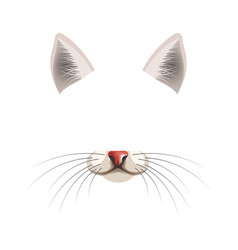 cat animal face filter template video chat photo vector image vector image