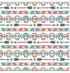 day of the dead tribal hand drawn line mexican vector image