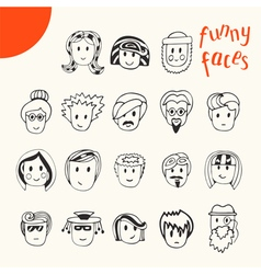 Hand drawn cartoon funny faces collection Doodle vector image vector image