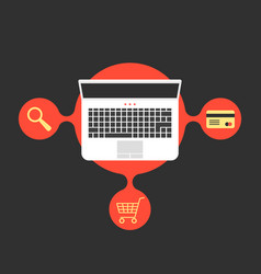 online shopping with laptop and red bubble vector image