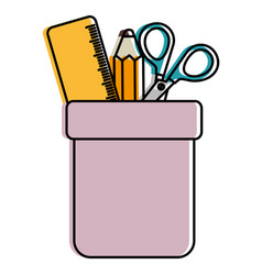 pencil holders with rule and scissors vector image vector image