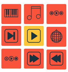set of 9 audio icons includes start song vector image vector image