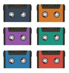 Six multi colored cassettes vector image