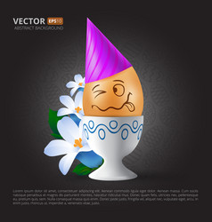 funny cartoon emotional easter egg with painted vector image