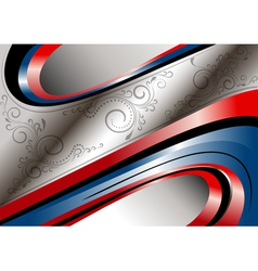 Red and blue curves and patterns on wavy frame vector image