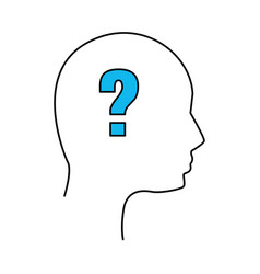 silhouette human man question vector image