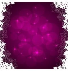 Violet snowflakes frame vector