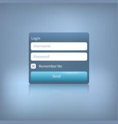 web login panel with button on blue vector image