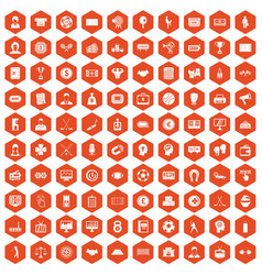 100 totalizator icons hexagon orange vector image