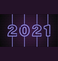 2021 new year glowing blue neon signboard on brick vector image